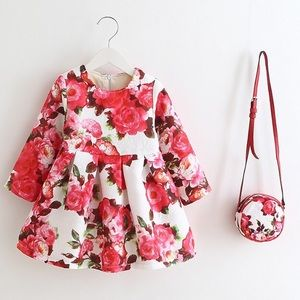 Toddler little girls floral winter dress bag set